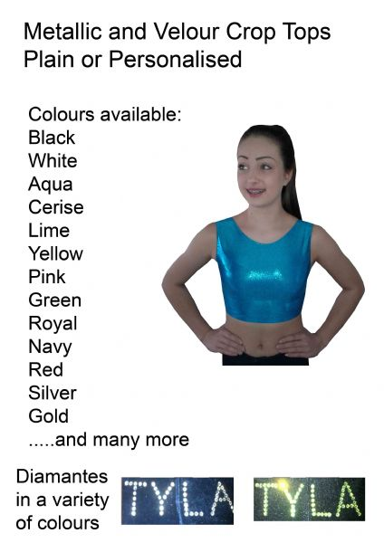 EARL407 Plain and Personalised  Metallic and Velour Crop Tops   From £12.50